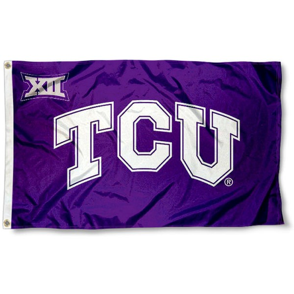 TCU Horned Frogs Big 12 Logo Flag measures 3'x5', is made of 100% poly, has quadruple stitched sewing, two metal grommets, and has double sided Team University logos. Our TCU Horned Frogs Flags is officially licensed by the selected university and the NCAA.