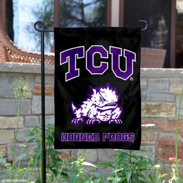 TCU Horned Frogs Black Garden Yard Flag is 13x18 inches in size, is made of 2-layer polyester, screen printed Texas Christian athletic logos and lettering. Available with Same Day Express Shipping, Our TCU Horned Frogs Black Garden Yard Flag is officially licensed and approved by Texas Christian and the NCAA.