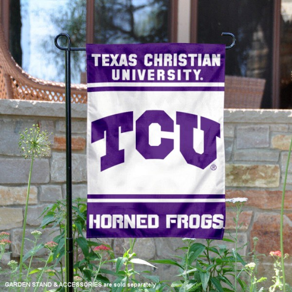 TCU Horned Frogs Garden Flag is 13x18 inches in size, is made of 2-layer polyester, screen printed logos and lettering. Available with Same Day Express Shipping, Our TCU Horned Frogs Garden Flag is officially licensed and approved by the NCAA.