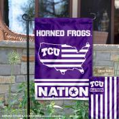 TCU Horned Frogs Garden Flag with USA Country Stars and Stripes