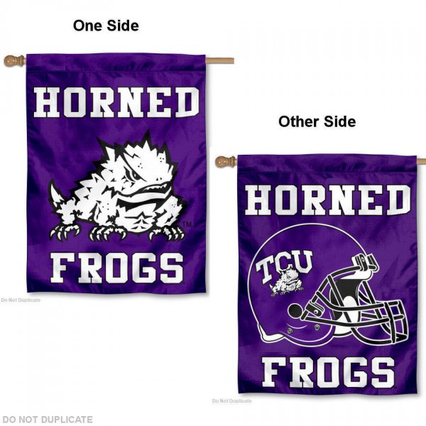 TCU Horned Frogs Helmet House Flag is a vertical house flag which measures 30x40 inches, is made of 2 ply 100% polyester, offers screen printed NCAA team insignias, and has a top pole sleeve to hang vertically. Our TCU Horned Frogs Helmet House Flag is officially licensed by the selected university and the NCAA.