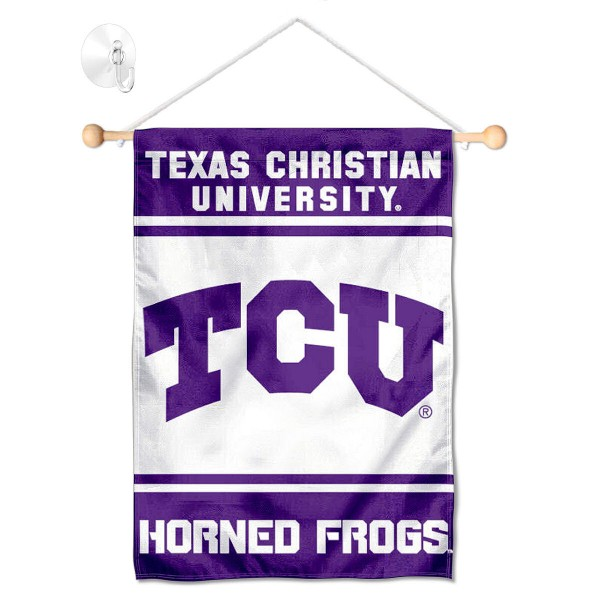 """TCU Horned Frogs Window and Wall Banner kit includes our 13""""x18"""" garden banner which is made of 2 ply poly with liner and has screen printed licensed logos. Also, a 17"""" wide banner pole with suction cup is included so your TCU Horned Frogs Window and Wall Banner is ready to be displayed with no tools needed for setup. Fast Overnight Shipping is offered and the flag is Officially Licensed and Approved by the selected team."""