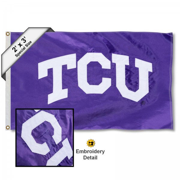 TCU Small 2'x3' Flag measures 2x3 feet, is made of 100% nylon, offers quadruple stitched flyends, has two brass grommets, and offers embroidered TCU logos, letters, and insignias. Our TCU Small 2'x3' Flag is Officially Licensed by the selected university.