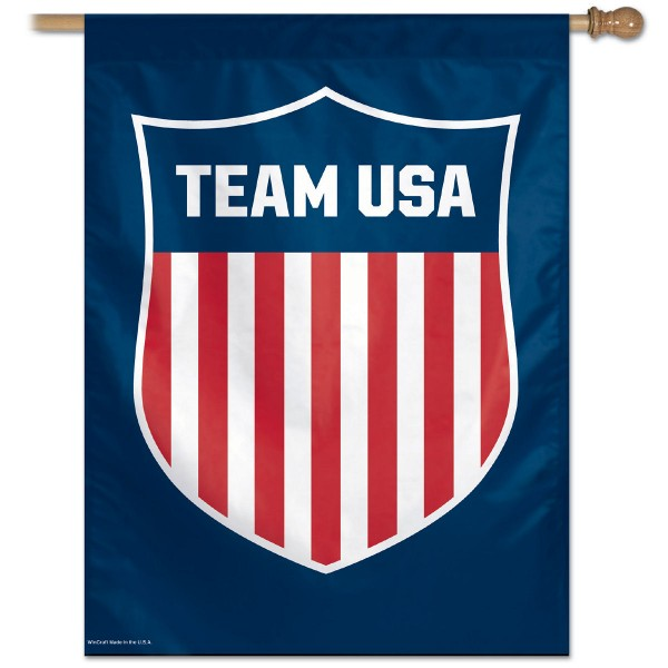 Team USA Banner House Flag measures 27x37 inches in size, is constructed of polyester and is viewable on both sides. Our Team USA Banner House Flag provides a top pole sleeve to hang vertically and is a USA Olympic genuine product.