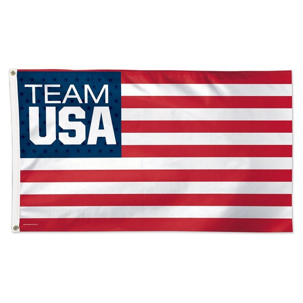 Team USA Stars and Stripes Flag measures 3x5 feet, is made of polyester, has two metal grommets, and is viewable from both sides with the opposite side being a reverse image. This Team USA Stars and Stripes Flag is Officially Licensed by the selected Team USA.