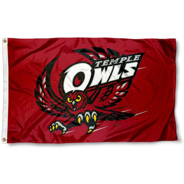 Temple Owls 3x5 Foot Flag measures 3'x5', is made of 100% poly, has quadruple stitched sewing, two metal grommets, and has double sided Temple Owls logos. Our Temple Owls 3x5 Foot Flag is officially licensed by the selected university and the NCAA