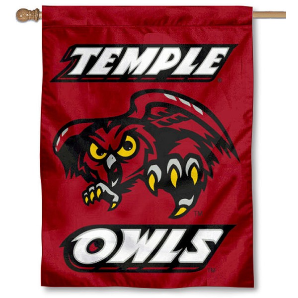 Temple Owls Banner Flag is a vertical house flag which measures 30x40 inches, is made of 2 ply 100% polyester, offers screen printed NCAA team insignias, and has a top pole sleeve to hang vertically. Our Temple Owls Banner Flag is officially licensed by the selected university and the NCAA.