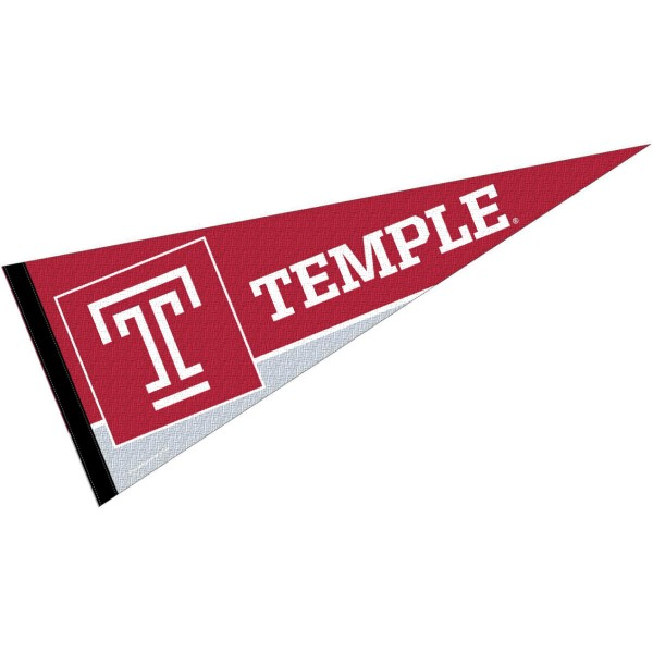Temple Owls Full Size Pennant is 12x30 inches, is made of felt, has a pennant stick sleeve, and the Temple Owls logos are single sided screen printed. Our Temple Owls Full Size Pennant is licensed by the NCAA and the university.