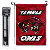 Temple Owls Garden Flag and Pole Stand