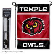 Temple Owls Garden Flag and Pole Stand Holder