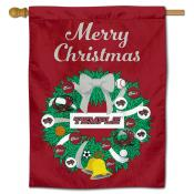 Temple Owls Happy Holidays Banner Flag