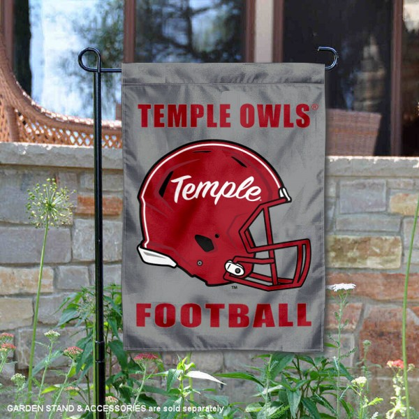 Temple Owls Helmet Yard Garden Flag is 13x18 inches in size, is made of 2-layer polyester with Liner, screen printed university athletic logos and lettering, and is readable and viewable correctly on both sides. Available same day shipping, our Temple Owls Helmet Yard Garden Flag is officially licensed and approved by the university and the NCAA.