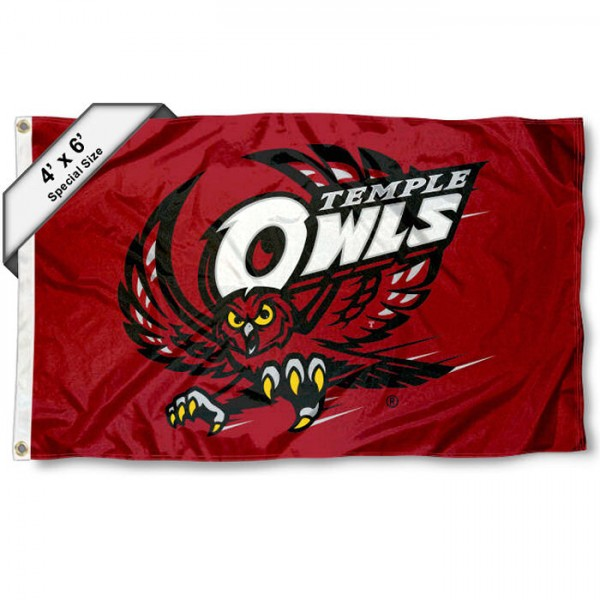 Temple Owls Large 4x6 Flag measures 4x6 feet, is made thick woven polyester, has quadruple stitched flyends, two metal grommets, and offers screen printed NCAA Temple Owls Large athletic logos and insignias. Our Temple Owls Large 4x6 Flag is officially licensed by Temple Owls and the NCAA.
