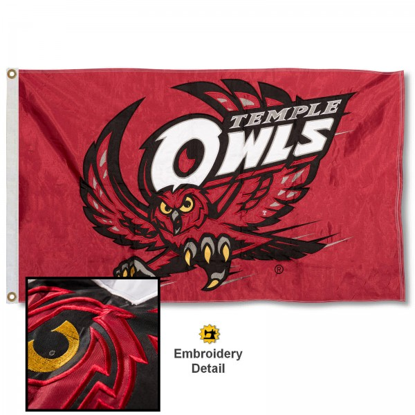 Temple Owls Nylon Embroidered Flag measures 3'x5', is made of 100% nylon, has quadruple flyends, two metal grommets, and has double sided appliqued and embroidered University logos. These Temple Owls 3x5 Flags are officially licensed by the selected university and the NCAA.