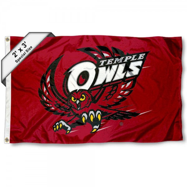 Temple Owls Small 2'x3' Flag measures 2x3 feet, is made of 100% polyester, offers quadruple stitched flyends, has two brass grommets, and offers printed Temple Owls logos, letters, and insignias. Our 2x3 foot flag is Officially Licensed by the selected university.