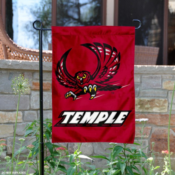 Temple University Garden Flag is 13x18 inches in size, is made of 2-layer polyester, screen printed Temple University athletic logos and lettering. Available with Same Day Express Shipping, Our Temple University Garden Flag is officially licensed and approved by Temple University and the NCAA.