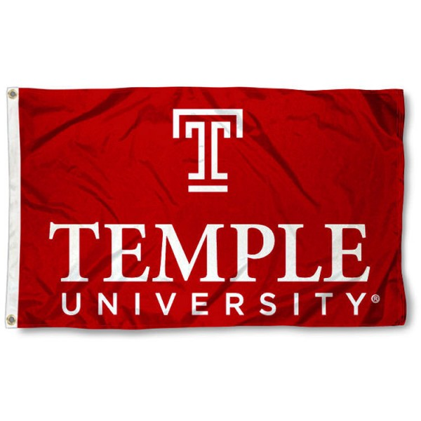 Temple University Wordmark Logo Flag is made of 100% nylon, offers quad stitched flyends, measures 3x5 feet, has two metal grommets, and is viewable from both side with the opposite side being a reverse image. Our Temple University Wordmark Logo Flag is officially licensed by the selected college and NCAA