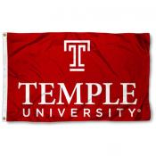 Temple University Wordmark Logo Flag