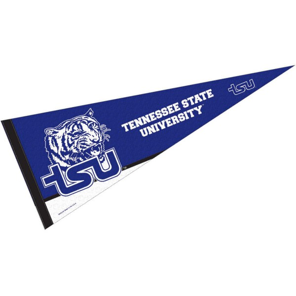 Tennessee State Tigers Decorations consists of our full size pennant which measures 12x30 inches, is constructed of felt, is single sided imprinted, and offers a pennant sleeve for insertion of a pennant stick, if desired. This Tennessee State Tigers Decorations is officially licensed by the selected university and the NCAA