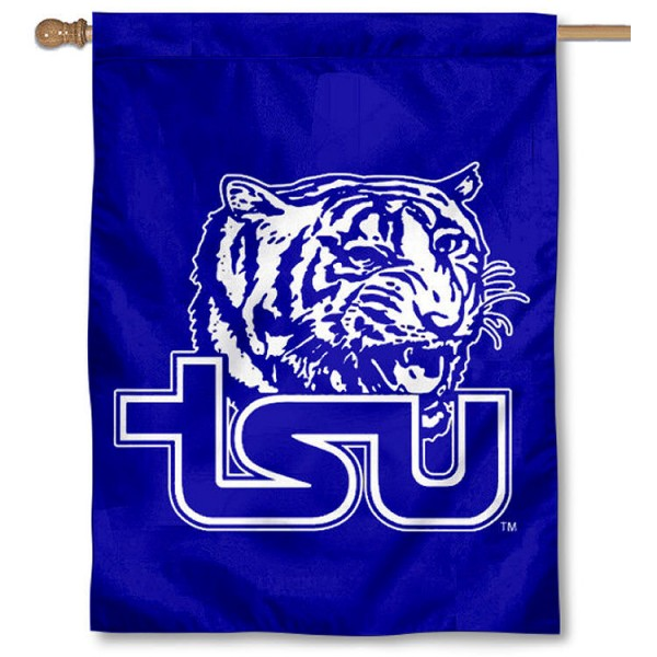Tennessee State TSU Tigers Banner Flag is a vertical house flag which measures 30x40 inches, is made of 2 ply 100% polyester, offers dye sublimated NCAA team insignias, and has a top pole sleeve to hang vertically. Our Tennessee State TSU Tigers Banner Flag is officially licensed by the selected university and the NCAA.