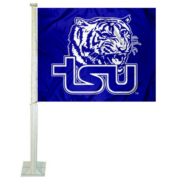Tennessee State University Car Window Flag measures 12x15 inches, is constructed of sturdy 2 ply polyester, and has screen printed school logos which are readable and viewable correctly on both sides. Tennessee State University Car Window Flag is officially licensed by the NCAA and selected university.