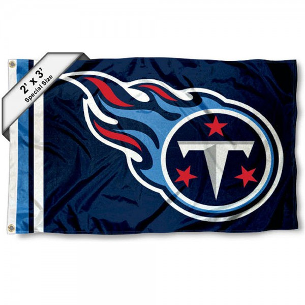 Tennessee Titans 2x3 Feet Flag measures 2'x3', is made polyester, has quadruple stitched flyends, two metal grommets, and offers screen printed NFL Tennessee Titans logos and insignias. Our Tennessee Titans 2x3 Foot Flag is NFL Officially Licensed and approved.