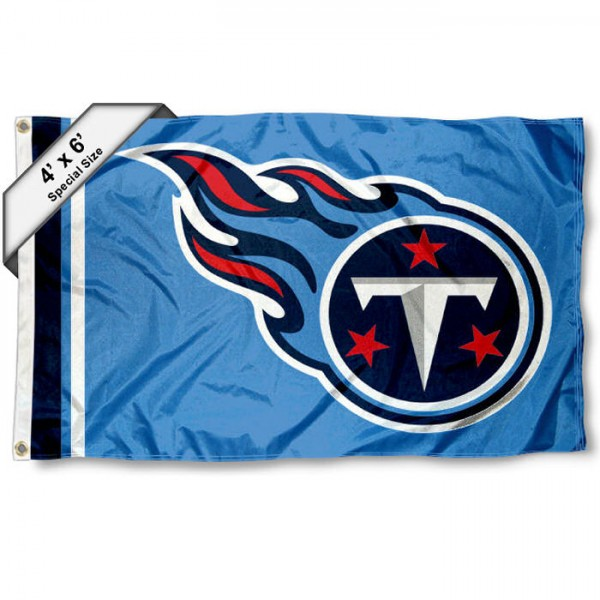 Tennessee Titans 4x6 Flag measures a large 4x6 feet, is made polyester, has quadruple stitched flyends, two metal grommets, and offers screen printed NFL Tennessee Titans logos and insignias. Our Tennessee Titans 4x6 Foot Flag is NFL Officially Licensed and Tennessee Titans approved.