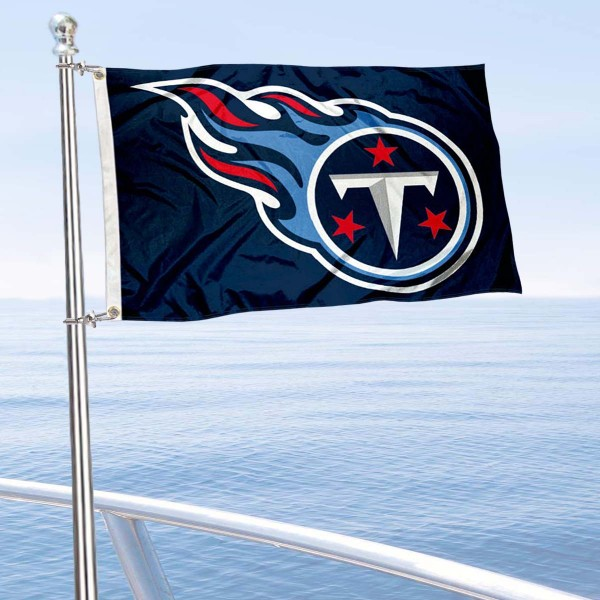 """Our Tennessee Titans Boat and Nautical Flag is 12""""x18"""", made of three-ply poly, has a solid header with two metal grommets, and is double sided. This Boat and Nautical Flag for Tennessee Titans is Officially Licensed by the NFL and can also be used as a motorcycle flag, boat flag, golf cart flag, or recreational flag."""