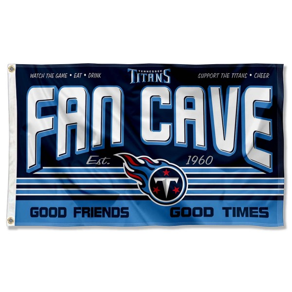 Our Tennessee Titans Fan Cave Flag Large Banner is double sided, made of poly, 3'x5', has two metal grommets, indoor or outdoor, and four-stitched fly ends. These Tennessee Titans Fan Cave Flag Large Banners are Officially Approved by the Tennessee Titans.