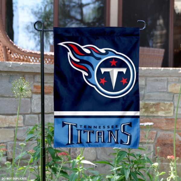 Tennessee Titans Garden Flag is 12.5x18 inches in size, is made of 2-ply polyester, and has two sided screen printed logos and lettering. Available with Express Next Day Ship, our Tennessee Titans Garden Flag is NFL Officially Licensed and is double sided.
