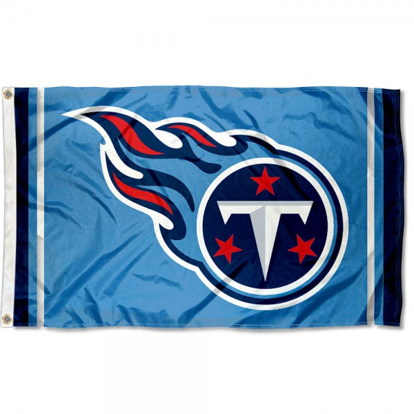 Our Tennessee Titans Logo Flag is double sided, made of poly, 3'x5', has two metal grommets, indoor or outdoor, and four-stitched fly ends. These Tennessee Titans Logo Flags are Officially Licensed by the NFL.