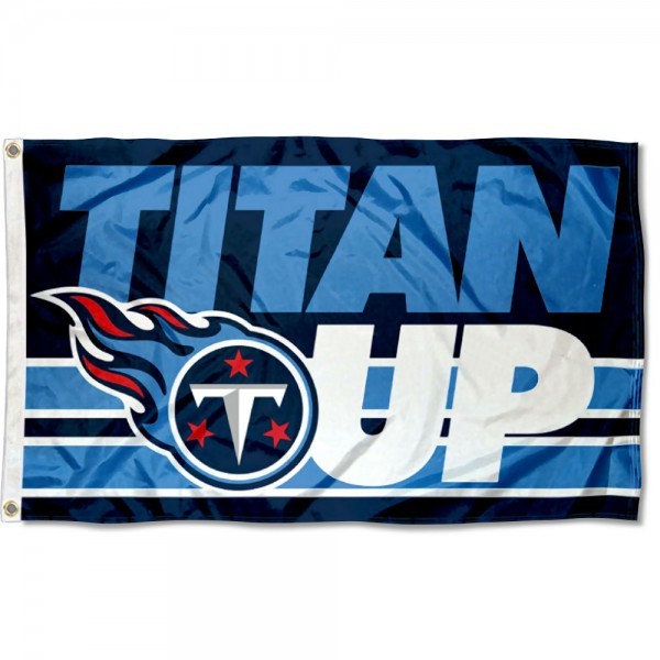 Our Tennessee Titans Titan Up Flag is double sided, made of poly, 3'x5', has two metal grommets, indoor or outdoor, and four-stitched fly ends. These Tennessee Titans Titan Up Flags are Officially Approved by the Tennessee Titans.