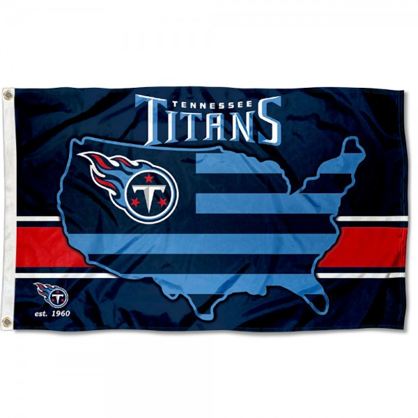 Our Tennessee Titans USA Country Flag is double sided, made of poly, 3'x5', has two metal grommets, indoor or outdoor, and four-stitched fly ends. These Tennessee Titans USA Country Flags are Officially Approved by the Tennessee Titans.