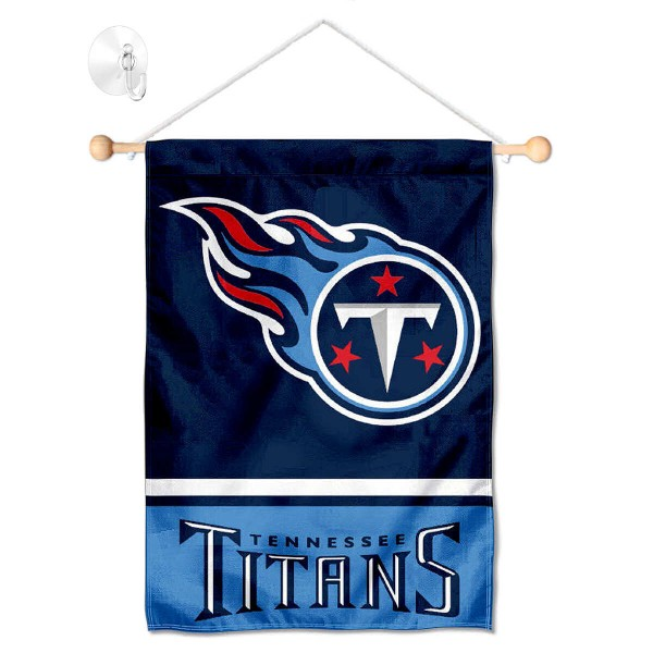 "Tennessee Titans Window and Wall Banner kit includes our 12.5""x18"" garden banner which is made of 2 ply poly with liner and has screen printed licensed logos. Also, a 17"" wide banner pole with suction cup is included so your Tennessee Titans Window and Wall Banner is ready to be displayed with no tools needed for setup. Fast Overnight Shipping is offered and the flag is Officially Licensed and Approved by the selected team."