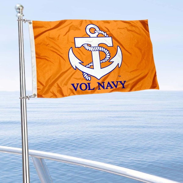 Tennessee Vol Navy Boat and Mini Flag is 12x18 inches, polyester, offers quadruple stitched flyends for durability, has two metal grommets, and is double sided. Our mini flags for University of Tennessee are licensed by the university and NCAA and can be used as a boat flag, motorcycle flag, golf cart flag, or ATV flag.