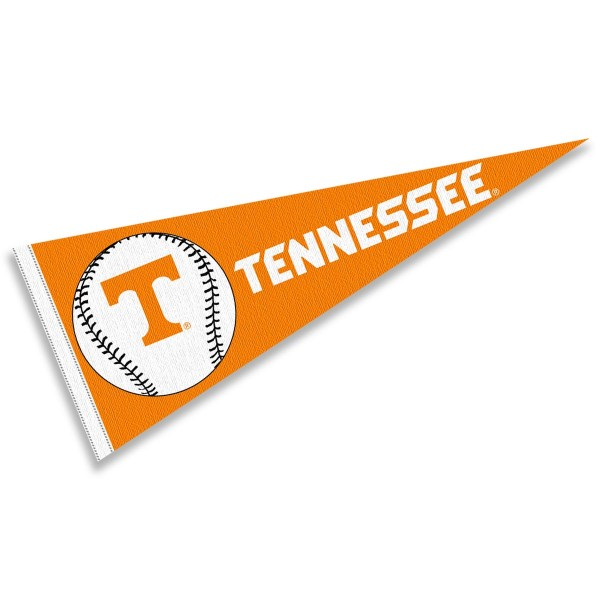 Tennessee Vols Baseball Pennant consists of our full size sports pennant which measures 12x30 inches, is constructed of felt, is single sided imprinted, and offers a pennant sleeve for insertion of a pennant stick, if desired. This Tennessee Vols Pennant Decorations is Officially Licensed by the selected university and the NCAA.