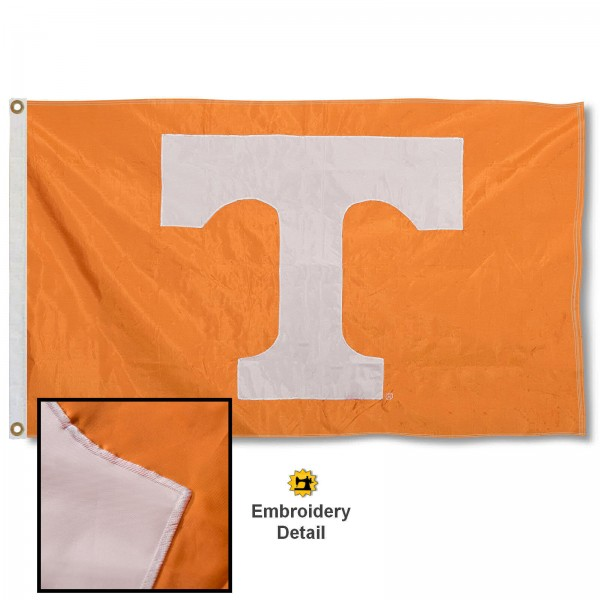 Tennessee Vols Nylon Embroidered Flag measures 3'x5', is made of 100% nylon, has quadruple flyends, two metal grommets, and has double sided appliqued and embroidered University logos. These Tennessee Vols 3x5 Flags are officially licensed by the selected university and the NCAA.
