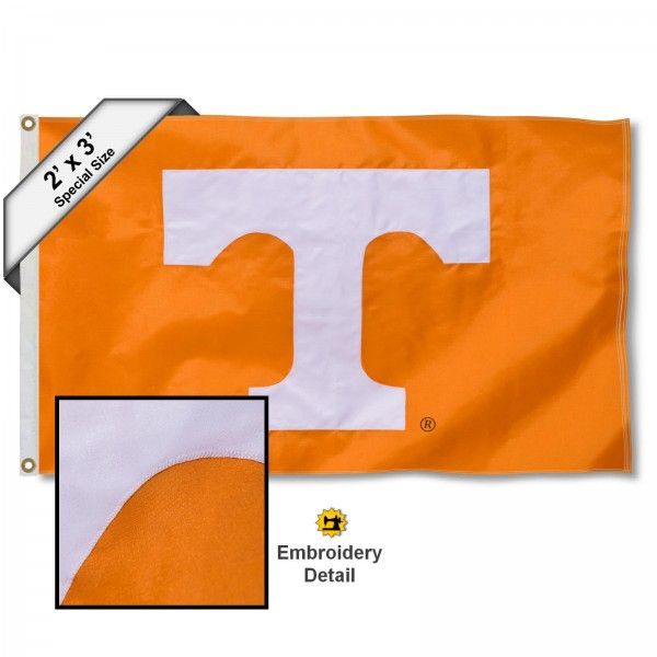 Tennessee Vols Small 2'x3' Flag measures 2x3 feet, is made of 100% nylon, offers quadruple stitched flyends, has two brass grommets, and offers embroidered UT Vol logos and insignias. Our Tennessee Vols Small 2'x3' Flag is officially licensed by the selected university.
