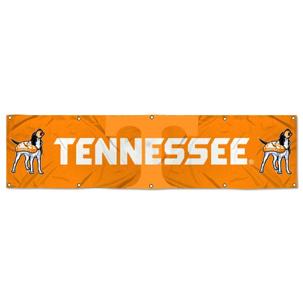 Tennessee Volunteers 8 Foot Large Banner measures 2x8 feet and displays Tennessee Volunteers logos. Our Tennessee Volunteers 8 Foot Large Banner is made of thick polyester and ten grommets around the perimeter for hanging securely. These banners for Tennessee Volunteers are officially licensed by the NCAA.