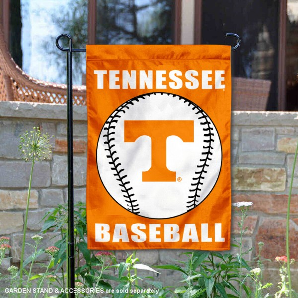 Tennessee Volunteers Baseball Team Garden Flag is 13x18 inches in size, is made of 2-layer polyester, screen printed University of Tennessee Baseball athletic logos and lettering. Available with Express Shipping, Our Tennessee Volunteers Baseball Team Garden Flag is officially licensed and approved by University of Tennessee Baseball and the NCAA.