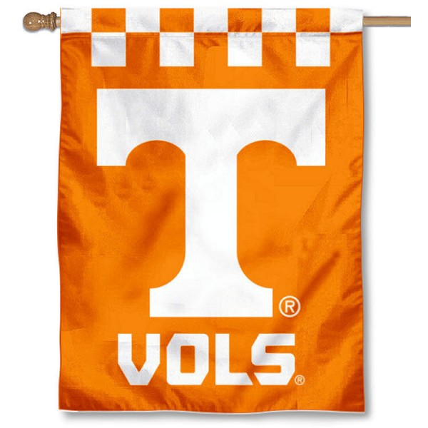 "Tennessee Volunteers Checkerboard House Flag is a double sided vertical house flag which measures 30"" x 40"" inches, is made of thick 100% polyester, offers screen printed NCAA team insignias, and has a top pole sleeve to hang vertically. Our Tennessee Volunteers Checkerboard House Flag is officially licensed by the selected university and the NCAA and is double sided."