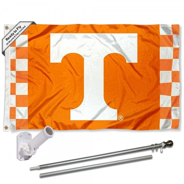 Our Tennessee Volunteers Checkered Flag Pole and Bracket Kit includes the flag as shown and the recommended flagpole and flag bracket. The flag is made of polyester, has quad-stitched flyends, and the NCAA Licensed team logos are double sided screen printed. The flagpole and bracket are made of rust proof aluminum and includes all hardware so this kit is ready to install and fly.