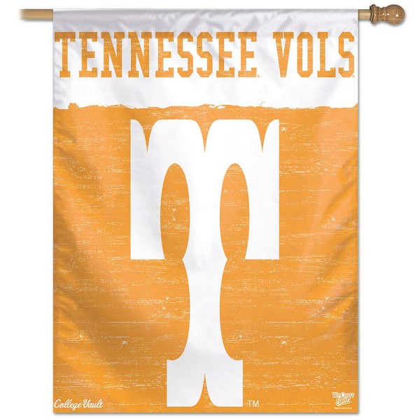 Tennessee Volunteers College Vault Logo House Flag is constructed of polyester material, is a vertical house flag, measures 27x37 inches, offers screen printed NCAA team insignias, and has a top pole sleeve to hang vertically. Our Tennessee Volunteers College Vault Logo House Flag is officially licensed by the selected university and NCAA.