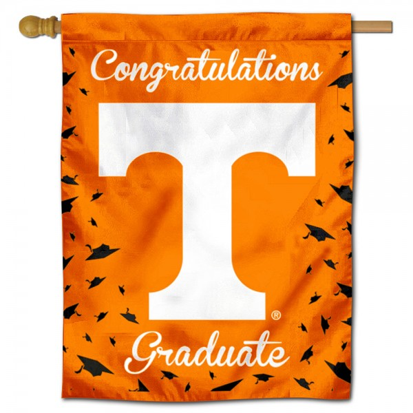 Tennessee Volunteers Congratulations Graduate Flag measures 30x40 inches, is made of poly, has a top hanging sleeve, and offers dye sublimated Tennessee Volunteers logos. This Decorative Tennessee Volunteers Congratulations Graduate House Flag is officially licensed by the NCAA.