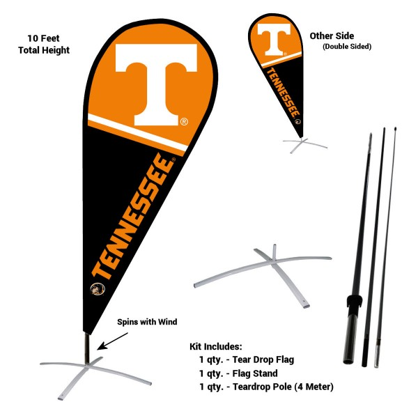 Tennessee Volunteers Feather Flag Kit measures a tall 10' when fully assembled. The kit includes a Feather Flag, 3 Piece Fiberglass Pole, and matching Metal Feather Flag Stand. Our Tennessee Volunteers Feather Flag Kit easily assembles and is NCAA Officially Licensed by the selected school or university.