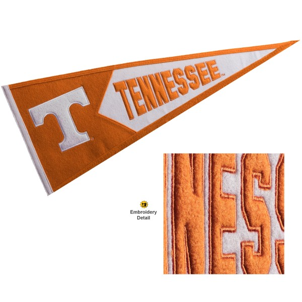 Tennessee Volunteers Genuine Wool Pennant consists of our full size 13x32 inch Winning Streak Sports wool college pennant. The logos, lettering and insignia is quality embroidered and appliqued, feature a alternate logo color header, and has sewn wool perimeter. This Tennessee Volunteers College Pennant Pennant is Officially Licensed and University Approved with Overnight Next Day Shipping.