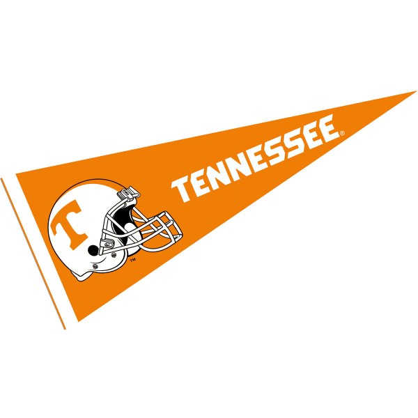 Tennessee Volunteers Helmet Pennant consists of our full size sports pennant which measures 12x30 inches, is constructed of felt, is single sided imprinted, and offers a pennant sleeve for insertion of a pennant stick, if desired. This Tennessee Volunteers Pennant Decorations is Officially Licensed by the selected university and the NCAA.