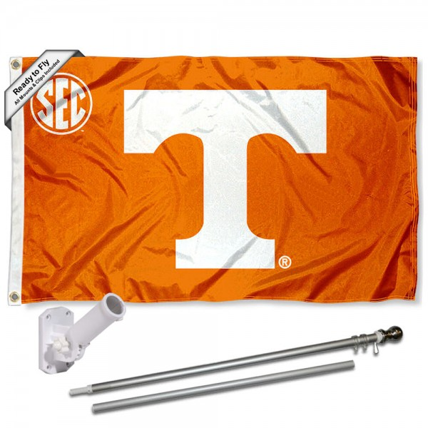 Our Tennessee Volunteers SEC Flag Pole and Bracket Kit includes the flag as shown and the recommended flagpole and flag bracket. The flag is made of polyester, has quad-stitched flyends, and the NCAA Licensed team logos are double sided screen printed. The flagpole and bracket are made of rust proof aluminum and includes all hardware so this kit is ready to install and fly.