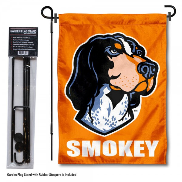 "Tennessee Volunteers Smokey Mascot Garden Flag and Pole Stand kit includes our 13""x18"" garden banner which is made of 2 ply poly with liner and has screen printed licensed logos. Also, a 40""x17"" inch garden flag stand is included so your Tennessee Volunteers Smokey Mascot Garden Flag and Pole Stand is ready to be displayed with no tools needed for setup. Fast Overnight Shipping is offered and the flag is Officially Licensed and Approved by the selected team."