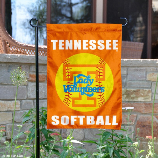 Tennessee Volunteers Softball Yard Flag is 13x18 inches in size, is made of 2-layer polyester, screen printed Tennessee Softball athletic logos and lettering. Available with Same Day Express Shipping, Our Tennessee Volunteers Softball Yard Flag is officially licensed and approved by Tennessee Softball and the NCAA.